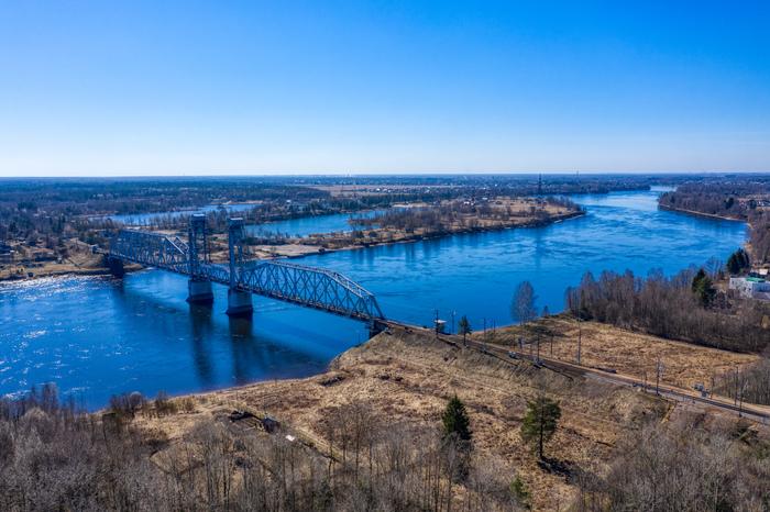 Кузьминский мост через Неву. Мост, Кузьминский мост, Нева, Река, Пейзаж, За городом, Ленинградская область