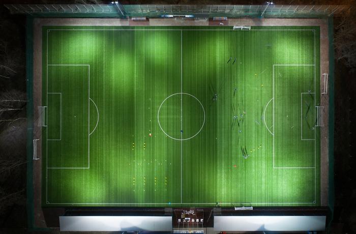 Ночная тренировка DJI Mavic 2 PRO, Ночь, Футбол, Lightroom, Фотография