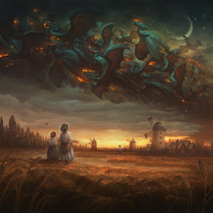 Драконья чума Арт, Рисунок, Дракон, Justingerardillustration