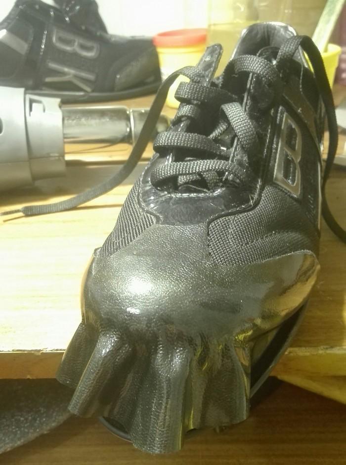 Лакированная кожа,замена носовой части. Ремонт обуви, Носки, Лакированная кожа, Было-Стало, Царапина, Длиннопост