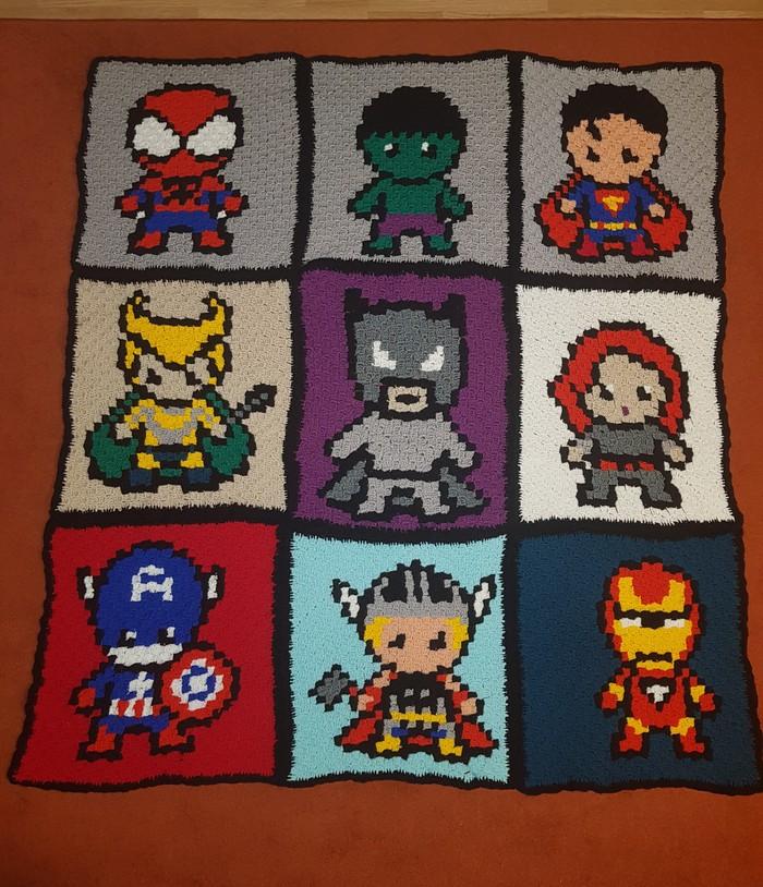 Супергеройский плед! Супергерои, Плед крючком, C2c