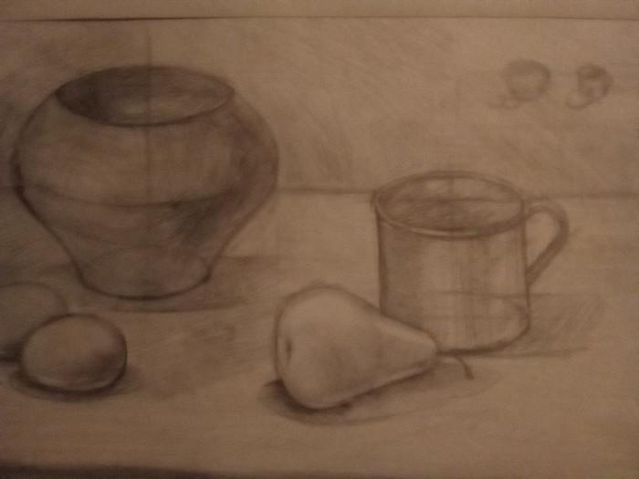 Рисунки карандашом , старался . Рисунок карандашом, Натюрморт, Длиннопост