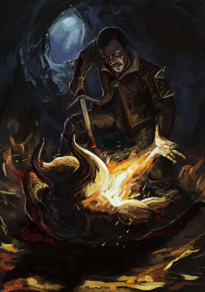 Это работа для ведьмака Ведьмак, The Witcher 3:Wild Hunt, Ламберт, Фан-Арт