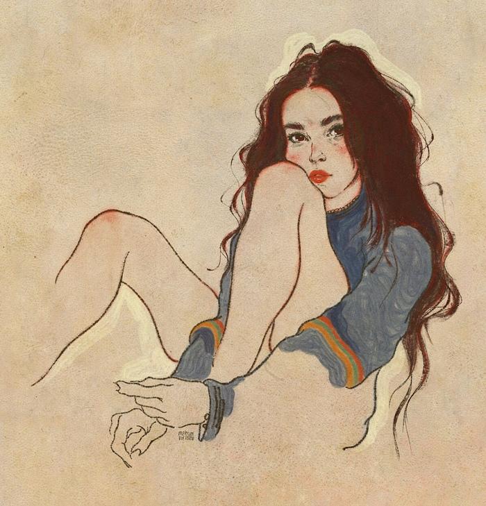 Study #23 Арт, Рисунок, Искусство, Красивая девушка, Портрет, Длиннопост, Цифровой рисунок, Девушки