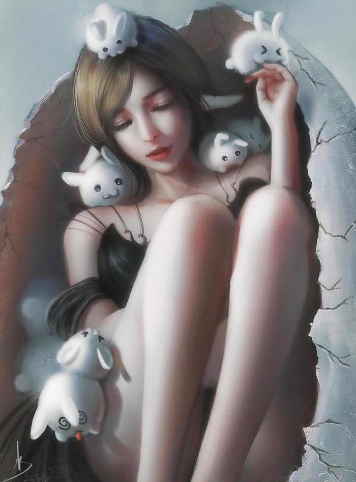 Кролики Арт, Рисунок, Девушки, Кролик, Trung Bui, Trungbui42