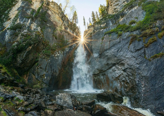 Водопад Шинок. Водопад, Шинок, Горы, Горный Алтай, Природа, Россия
