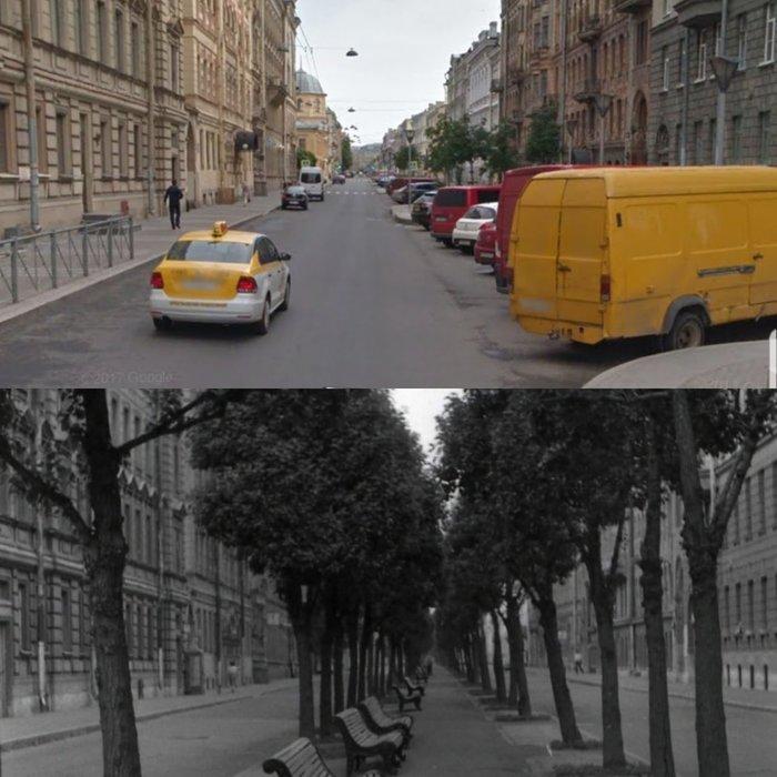Ул. Правды в Петербурге. Две фотографии разделяет около 30 лет