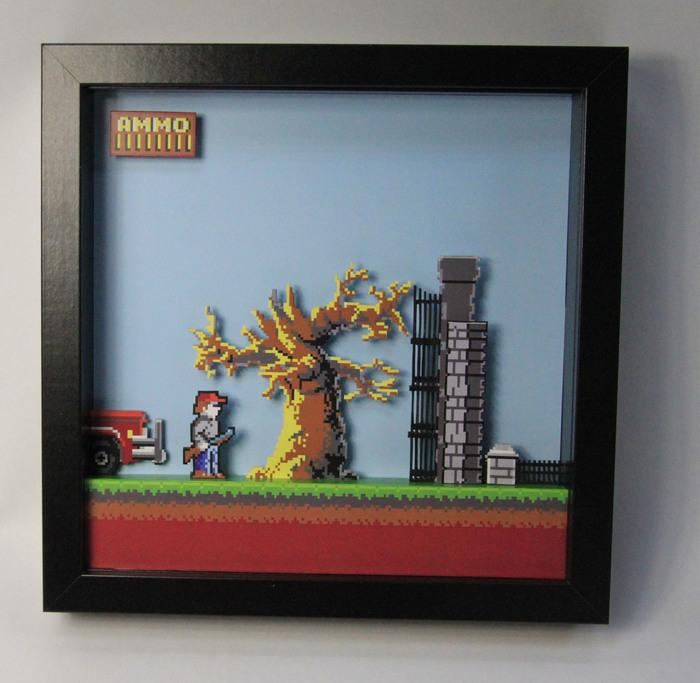 Диорама по игре - Dangerous dave Диорама, Dangerous dave, Pixel Art, Ностальгия, Ретро-Игры, Длиннопост