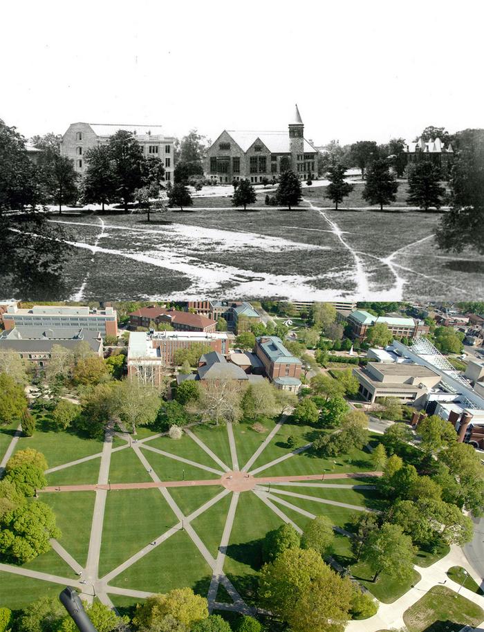 Дорожки в Университете штата Огайо вымощены на основе тропинок, которые студенты вытоптали, как им было удобно