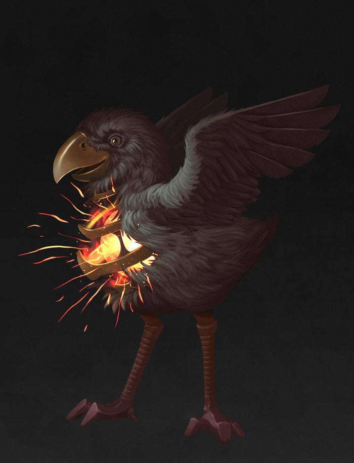 Птиц с горящим нутром 2d иллюстрация, Рисунок, Photoshop, 2d, Птицы, Огонь, Цифровой рисунок, Иллюстрации