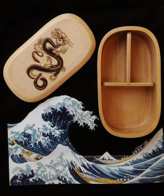 Бэнто коробочка с драконом Дракон, Китай, Бенто, Суши, Еда, Своими руками, Пирография, Китайский дракон