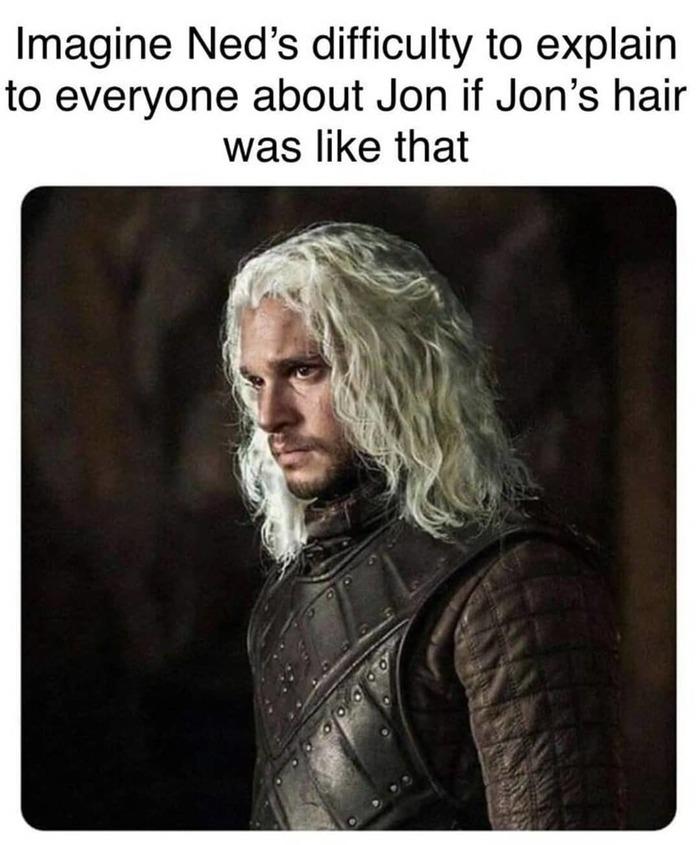 Представьте, как сложно было бы Неду давать объяснения по поводу Джона, если бы у него были такие волосы