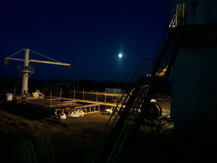 Закат над буровой Буровая, Луна, Вахта, Ночь, Работа