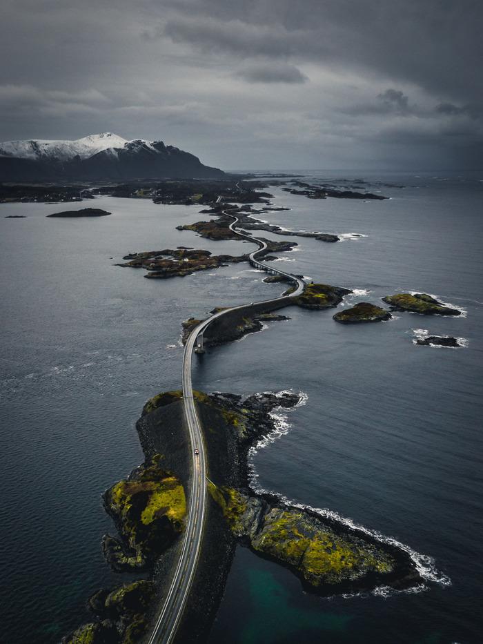 Норвегия,Atlanterhavsveien Норвегия, Фотография, Путешествия, Скандинавия, Дрон, Квадрокоптер, Мост, Обработка фотографий