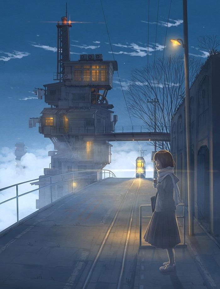 Девушка в ожидании подъезжающего трамвая