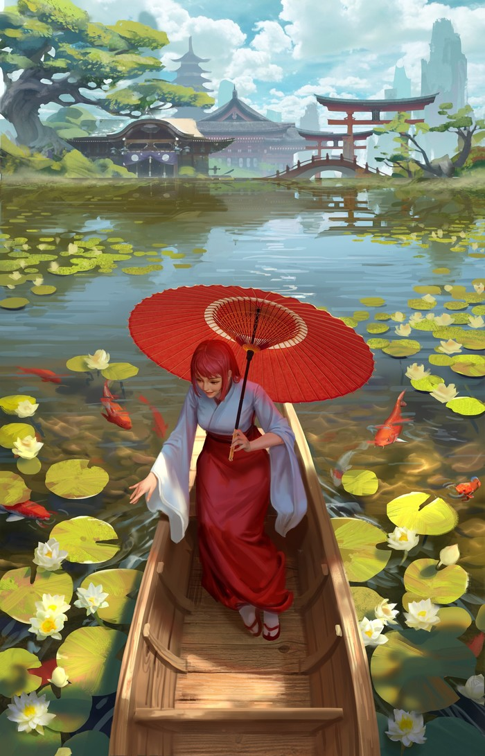 Водная прогулка Арт, Рисунок, Девушки, Пруд, Карпы кои, Hou China