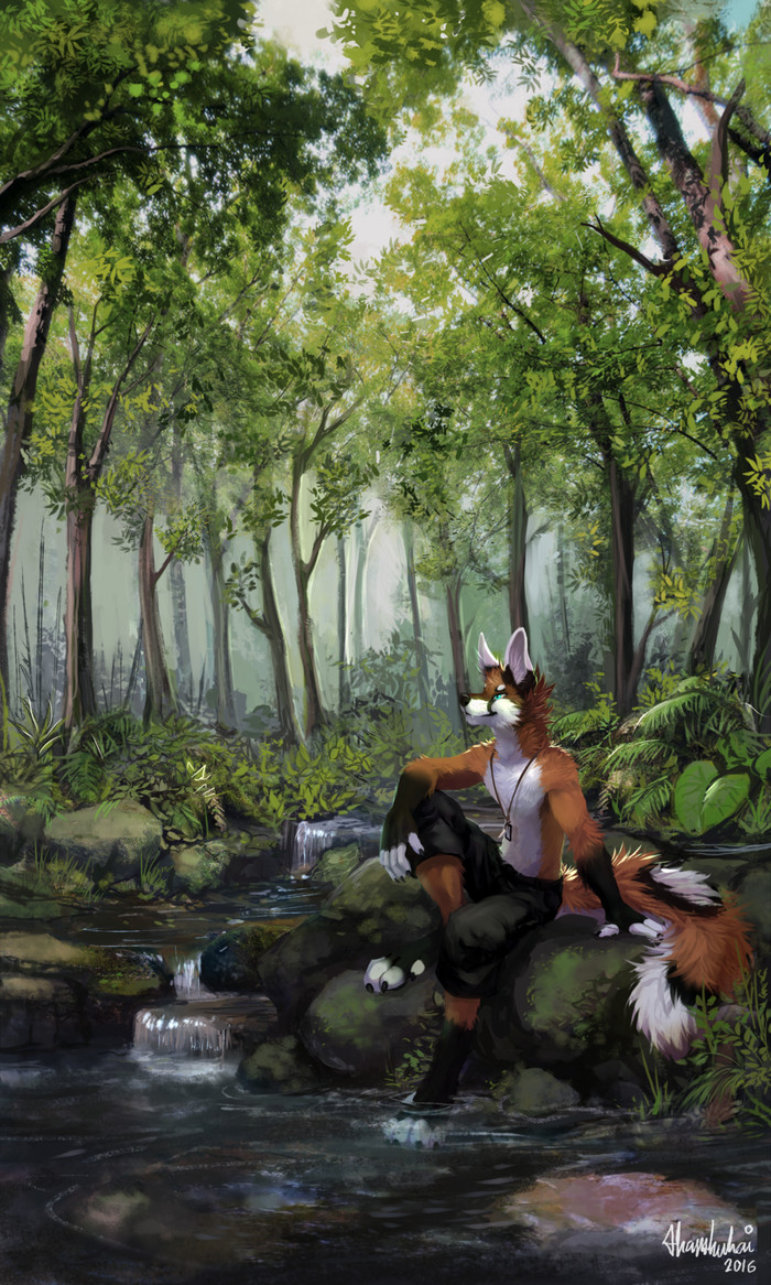 Rest Фурри, Furry Art, Furry Hybrid, Furry wolf, Furry Fox, Фенек, Отдых в лесу, Thanshuhai