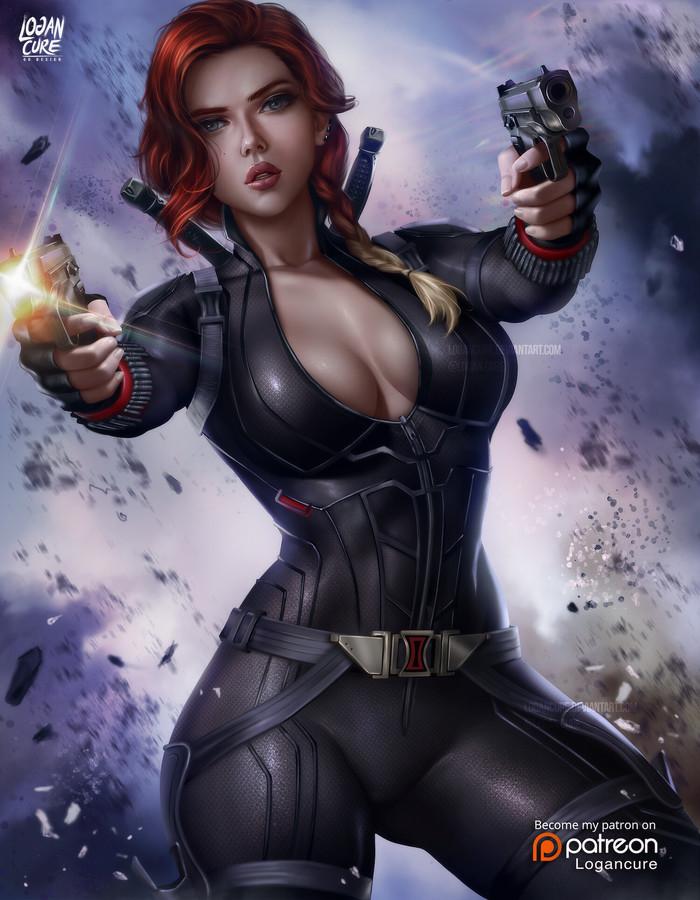Черная вдова Арт, Рисунок, Мстители, Черная вдова, Marvel, Logan Cure