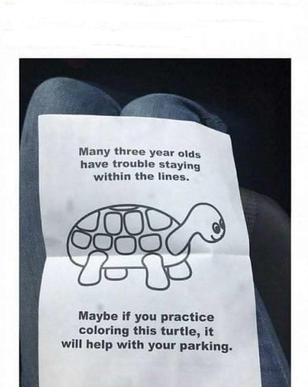 Как вежливо сообщить человеку, что он хреново запарковал свой автомобиль Паркинг, Предупреждение, Картинка с текстом, Авто, Вежливость