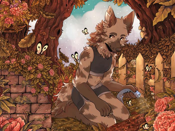 Garden Фурри, Furry Art, Furry Canine, Furry hyena, Сад, Sherwind