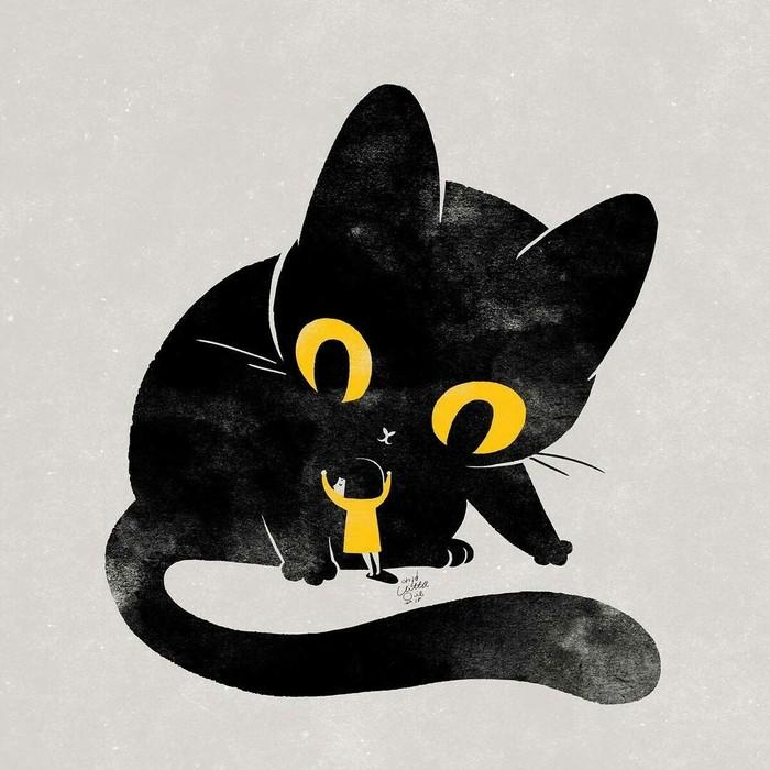 Большое счастье Арт, Рисунок, Кот, Черный кот, Девочка
