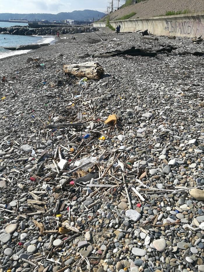 Море, пляж, мусор... Лига чистомена, Туапсе, Пляж, Длиннопост
