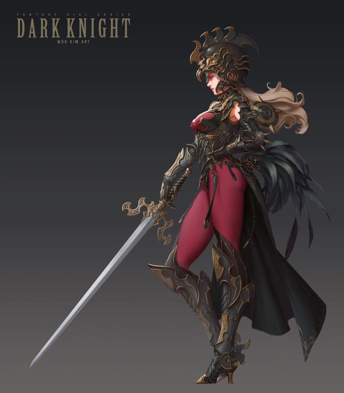 Dark Knight by Woo Kim Фэнтези, Темный рыцарь, Woo Kim, Арт, Корея, Южная Корея, Длиннопост