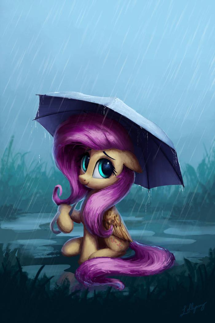 Флаттершай под дождём My Little Pony, Fluttershy, Lolliponybrony