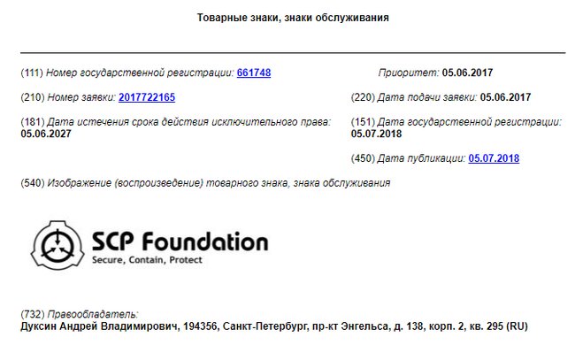 SCP зарегистрирован как товарный знак в России SCP, Art SCP, SCP Art, Патентный тролль, Творчество, Длиннопост