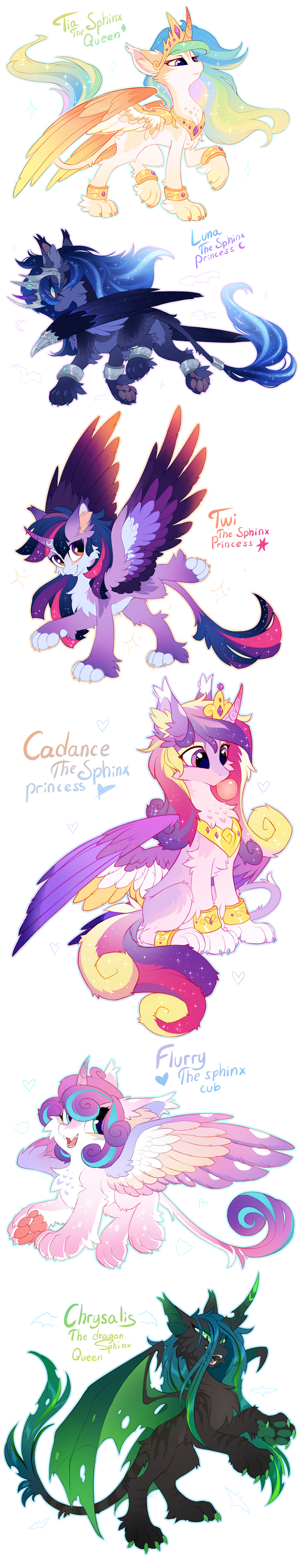 The Sphinx My Little Pony, Princess Celestia, Princess Luna, Princess Cadance, Flurry Heart, Queen Chrysalis, Hioshiru, Длиннопост