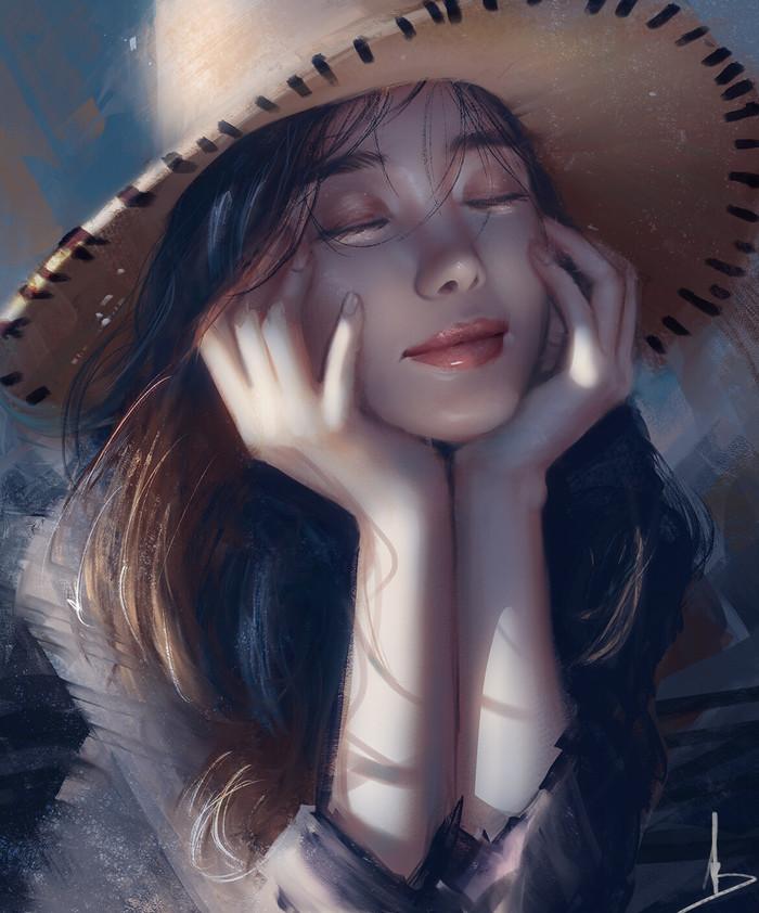 Улыбка Арт, Рисунок, Девушки, Trung Bui