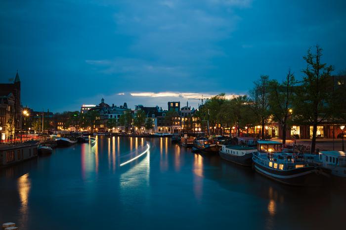 Ночной Амстердам на длинной выдержке Голландия, Амстердам, Нидерланды, Фотография, Ночная съемка, Длиннопост