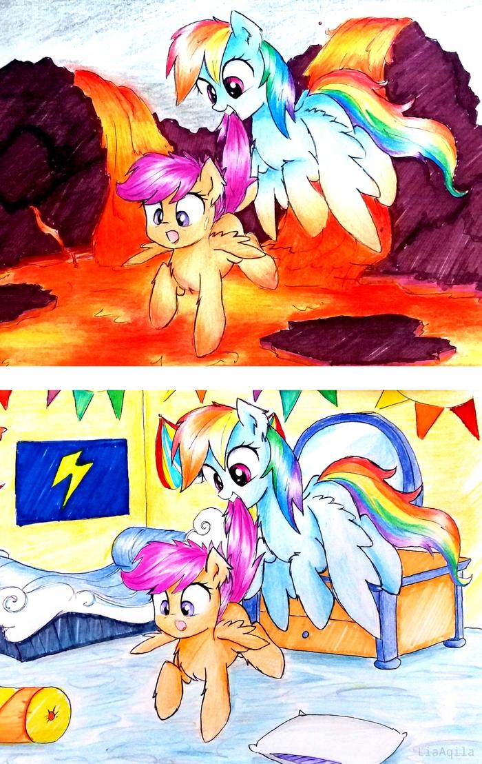 Пол - это лава My Little Pony, Rainbow Dash, Scootaloo, Liaaqila, Арт