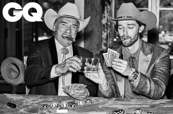 Арнольд Шварценеггер со своим сыном Патриком в фотосессии для свежего GQ, 2019 Арнольд Шварценеггер, Gq, Фотосессия, Актеры, Отец, Сын, Длиннопост, Патрик Шварценеггер