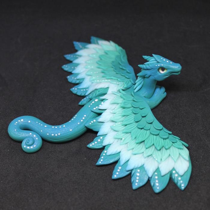 Мятный дракончик Рукоделие без процесса, Лепка, Полимерная глина, Дракон, Ручная работа, Длиннопост