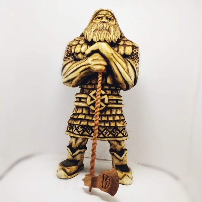 ПЕРУН, материал липа, секира ольха. высота 20см. Резьба по дереву, Славянская мифология, Перун, Длиннопост