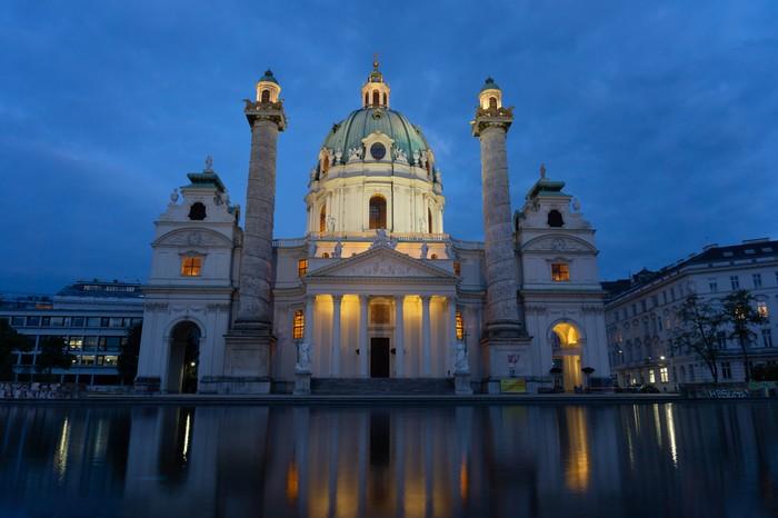 Карлскирхе. Католическая церковь в Вене Австрия, Вена, Фотография, Архитектура, Вода, Вечер