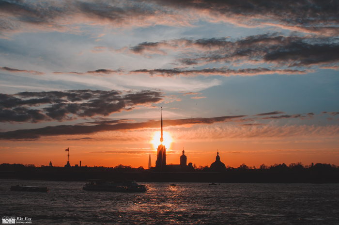 Закат над Невой. Санкт-Петербург, Закат, Длиннопост