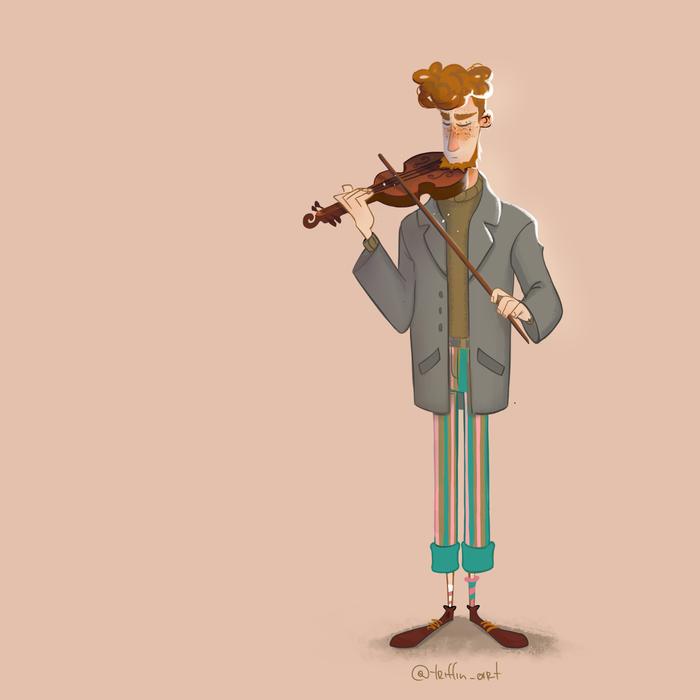 Скрипач Персонажи, Стилизация, Ретро, Мультяшный стиль, Музыка, Скрипка, Скрипач, Рисунок