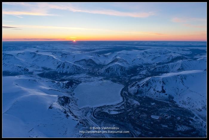 Рассвет над Хибинами Горы, Хибины, Рассвет, С высоты, Весна, Заполярье, Мурманская область