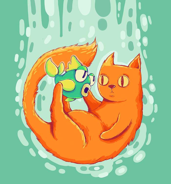 Кот и рыбина Арт, Рисунок, Цифровой рисунок, Бобёр рисует, Кот, Photoshop, Принт, Рыба