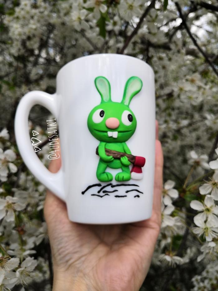 """Настроение """"заяц с топором"""" Заяц, Кружка с декором, Полимерная глина, Оригинальный подарок, Рукоделие без процесса"""