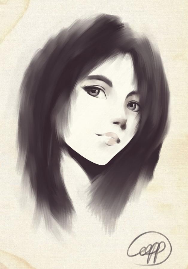 Селфи :) Иллюстрации, Цифровой рисунок, Krita, Стилизация, Монохром, Автопортрет, Рисунок, Девушки