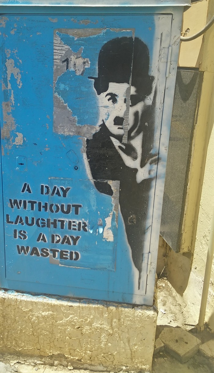 Почаще улыбайтесь, господа!!! Чарли Чаплин, Граффити, Улыбка, Счастье