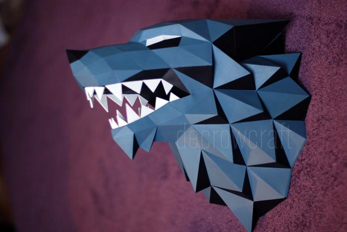 Лютоволк. Полигональная скульптура Papercraft, Игра престолов, Спойлер, Изделия из бумаги, Своими руками, Decrowcraft, Лютоволк, Длиннопост