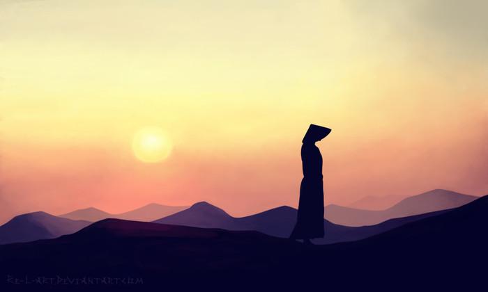 Закат Закат, Солнце, Человек, Рисунок, Цифровой рисунок, Дзен, Минимализм, Пейзаж