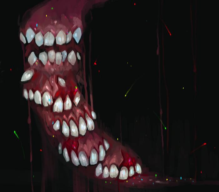 Жжубы Арт, Цифровой рисунок, Рисунок, Зубы, Кровь, Длиннопост
