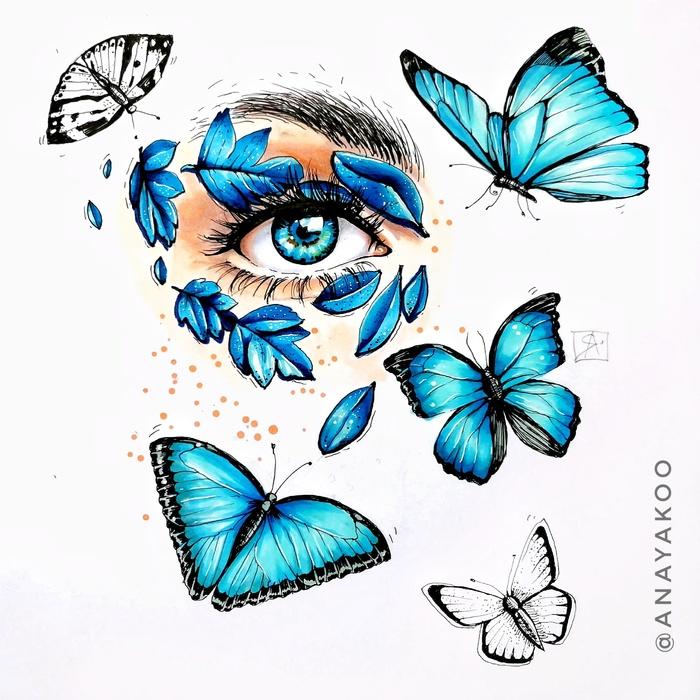 Взгляд Взгляд, Глаза, Бабочка, Спиртовые маркеры, Линер, Скетч, Скетчбук, Рисунок