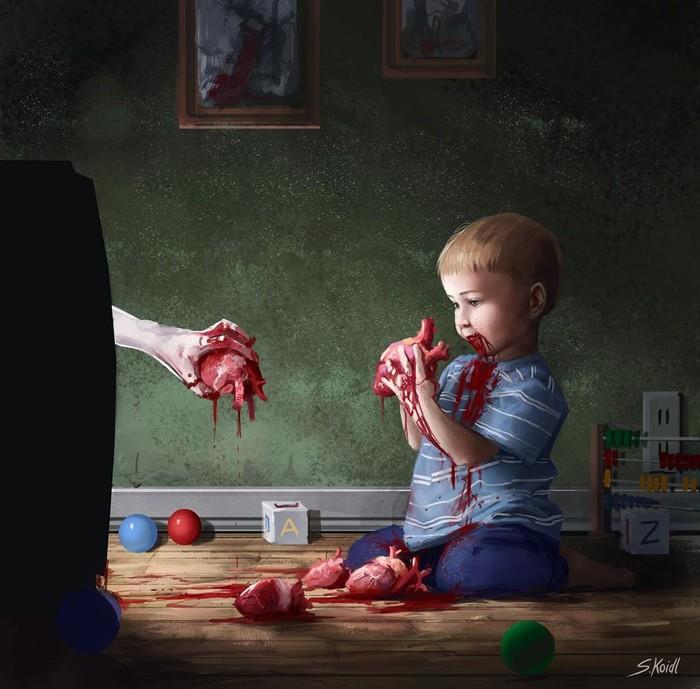 Арты от Stefan Koidl Арт, Рисунок, Крипота, Подборка, Stefan Koidl, Длиннопост