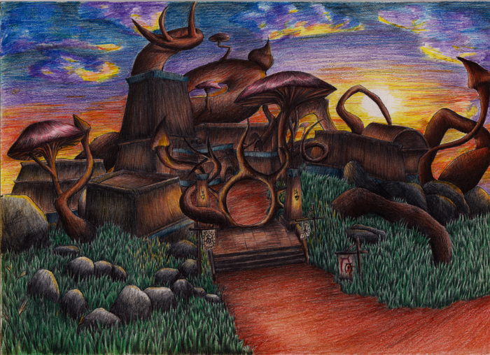 Любимое поселение На Вварденфелле The Elder Scrolls, The Elder Scrolls III:Morrowin, Morrowind, Рисунок, Цветные карандаши